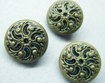 Vintage buttons, brass buttons, metal buttons, mirror backs, set of 3