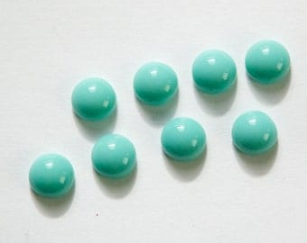 Czech Domed Turquoise Blue Glass Cabochons 7mm (8) cab701RR