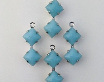 Vintage Calcedon Blue Square Glass Stones Double 1 Loop Silver Plated Setting 6mm (4) squ013kk3