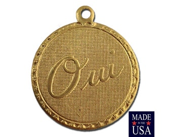 Raw Brass Oui Yes  Word Charm Drop with Loop (1) chr190CC