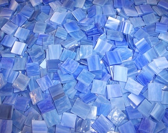 Mini Glacier Blue Tumbled Stained Glass Mosaic Tiles
