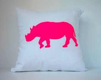Rhino in Neon Pink on White - Hand Printed Cushion Cover - Linen Cotton - 40cm x 40cm