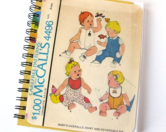 Sewing Pattern Journal & Notebook // Baby Sewing Pattern // Recycled Vintage  // McCalls 4496