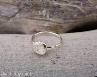 Small Silver River Rock Ring | Stacking Ring | Handmade Ring