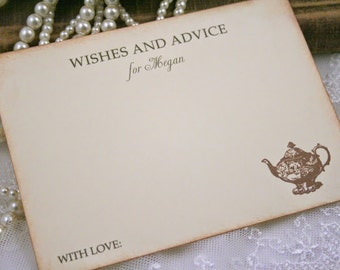 Tea Party Advice Cards Bridal Shower Wish Cards Personalized Teapot Vintage Style Ivory