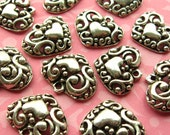 Antique Silver Heart Charms - Set of 6 - 20mm Curlicue Heart Charms - Hearts Within Hearts (SC0036)