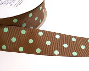Polka Dot Ribbon, Brown and Mint Green Polka Dot Grosgrain Ribbon 1 1/2 inches wide x 10 yards, Offray Dippy Dot Ribbon