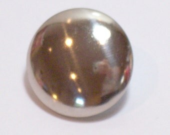 Silvertone Metal Buttons 7/8 inch diameter x 20 pieces, Shank Back,  Mirror Finish Silver Buttons