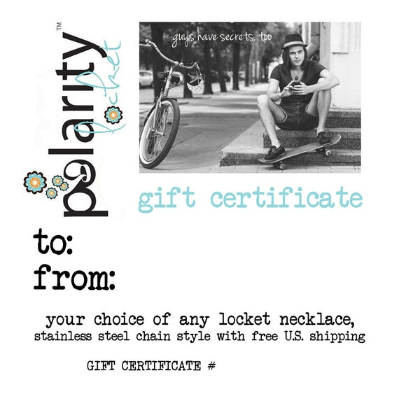 GIFT CERTIFICATE for any Magnetic Polarity Locket with Shipping, Guy Gift, Ready to Ship, Instant Download, Son, Nephew, Boyfriend, Husband