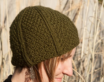 Green Seed Stitch Hat for Adults