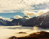Nature photography, sunrise, mountains, morning fog, Swiss Alps, travel, hiking, Bern, enchanted, mist, teal blue, 8x12, golden, clouds