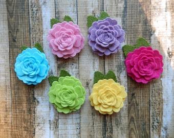 Wool Blend Felt Fabric Vintage Roses - Spring Pop - Set of 12