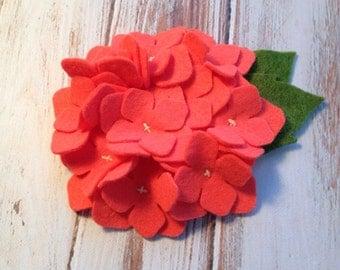 Wool Felt Hydrangea Felt Flower - Soft Coral Felt Set of 2