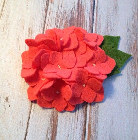 Wool Felt Hydrangea Felt Flower Soft Coral Felt Set of 2
