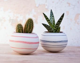 ceramic cactus planter (orange stripes). porcelain mini planter for, cacti, succulent or air plant. Crafted by Wapa Studio.