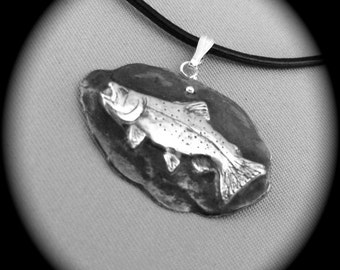 Rustic Trout Pendant - Recycled Silver - leather cord - Men - Father's Day