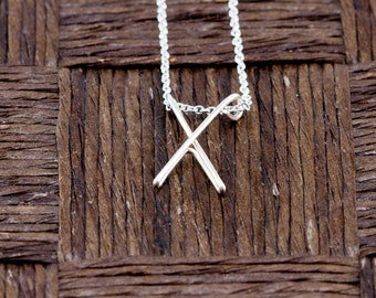 Sterling Silver Wire Wrapped Initial Pendant and Necklace - Letter X