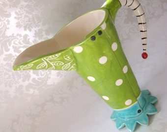 Lime & leaves Ceramic Pitcher -or- vase / big polka dots Beetlejuice striped handle