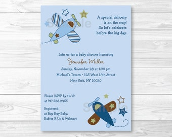 Zoom Along Airplane Baby Shower Invitation PRINTABLE