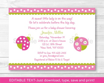 Cute Pink Ladybug Baby Shower Invitation / Ladybug Baby Shower Invite / Pink & Green / Baby Girl Shower / INSTANT DOWNLOAD Editable PDF