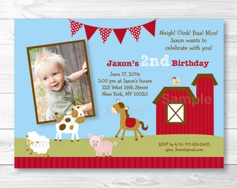 Farm Animal Birthday Invitation PRINTABLE Any Age