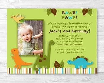 Cute Dinosaur Birthday Invitation / Dinosaur Birthday Invite / Dinosaur 1st Birthday / Dinosaur 2nd Birthday / Any Age / PRINTABLE A317