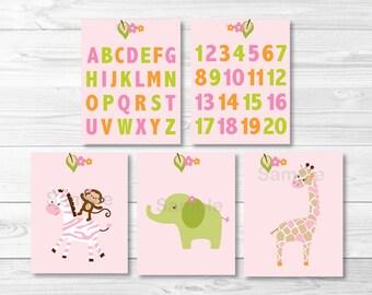 Cute Pink Jungle Animal Nursery Wall Art / Safari Nursery Wall Art / Jungle Animal Wall Art / Alphabet / Numbers  PRINTABLE Instant Download
