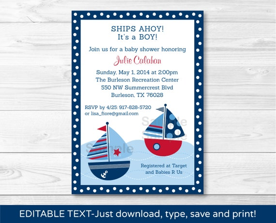 Sailboat baby shower invitation sailboat baby shower invite il570xn filmwisefo Images