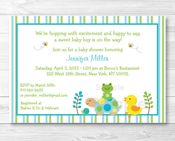 Cute turtle frog baby shower invitation turtle baby shower invite il570xn filmwisefo