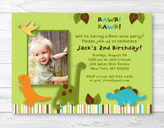 Cute Dinosaur Birthday Invitation Dinosaur Birthday Invite