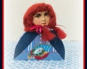 Bea Handmade Mixed Media Victorian Collage Shelf Sitter Art Doll Decoration