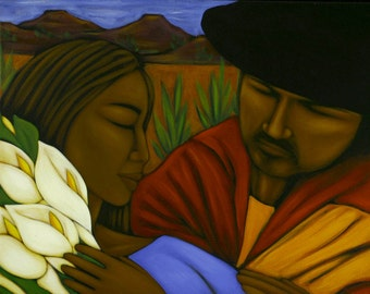 Lovers Mexican Folk Art Print of Painting by Tamara Adams