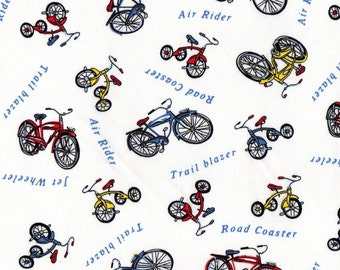 BICYCLES TRICYCLES, Cotton Jersey Knit Fabric, By the FQ