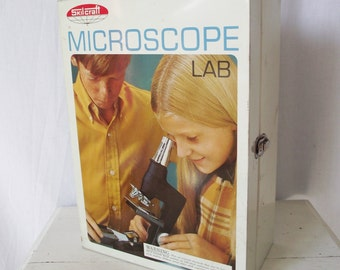 Vintage Microscope by Skilcraft - Case, Accessories, Manual - no. 416 Senior Set - c. 1969