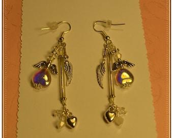 Vintage Clear AB Heart,Bugle,Crystal Angel Earrings
