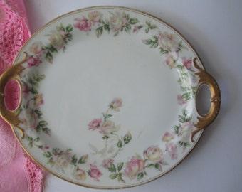 Vintage Haviland Limoges French Pink Green Floral Serving Platter