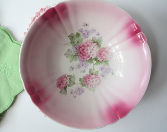 Serving Bowl Pink Green Floral German - Shabby Sweet Vintage