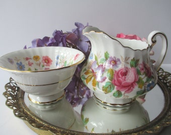 Lovely Vintage Paragon Floral English Bone China Cream and Sugar Set