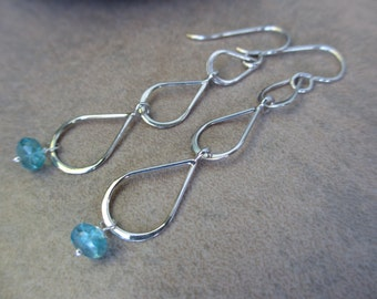 Apatite Silver Drop Earrings, Teardrop, Sea Green, Teal, Dangle, Long, Sterling Silver, Delicate, Irisjewelrydesign