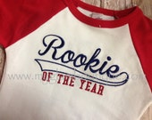 Custom Design or Rookie of the Year Raglan Tee  - Great for 1st Birthday's T-shirt - You choose the design - Front or Back -
