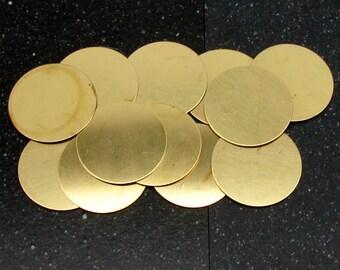 """1-1/4"""" Brass Disc 24 Gauge  Pack of 12"""