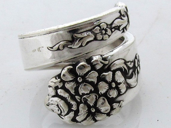 Spoon Ring Size 8 Moss Rose Silverware Pattern Wrapped