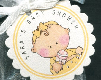 Personalized Baby Girl Baby Shower Favor Tags, Baby Girl Yellow Outfit, Set Of 50 Round Scallop Personalized Tags