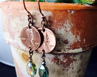 Birthday birthdate YEAR earrings Hand Hammered and Polished copper pennies anniversary special date