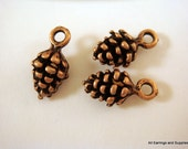 12 Antique Copper Charm Drop Pine Cone 13x7mm LF/NF - 12 pc - DC3018-AC12