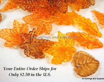 30 Acrylic Leaves Yellow Orange Brown Assorted Sizes and Shapes - 30 pc - A1034-ASYOB30