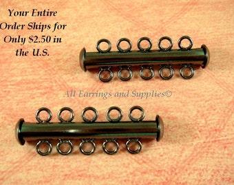 2 Gunmetal Slide Lock Clasp 5 Strand Plated Brass 31x6mm - 2 pc - 5512-14