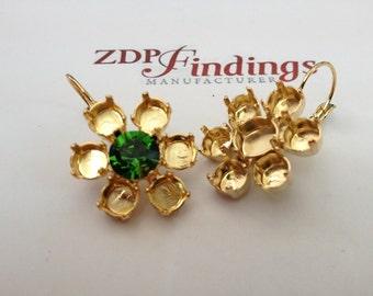 Hanged Flower Earrings 29ss & 39ss Swarovski Settings Lever Back Earrings Shiny Gold Plated (66017901GP)
