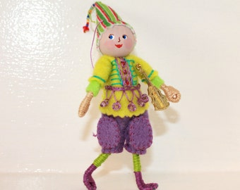 Hand Embroidered Hanging Ornament Elf Playing Guitar