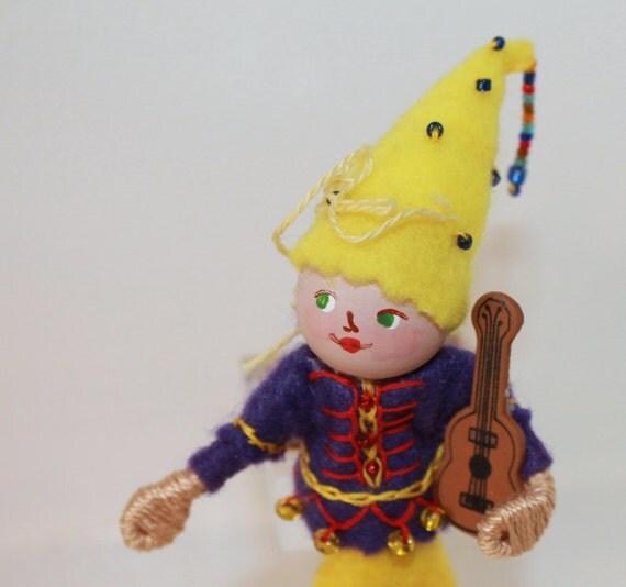 Felt Art Doll Pixie Playing Guitar